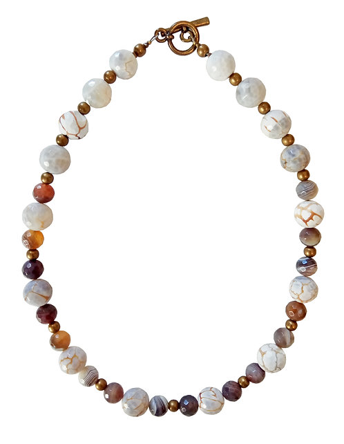 Botswana Agate and White Agate Stones Necklace