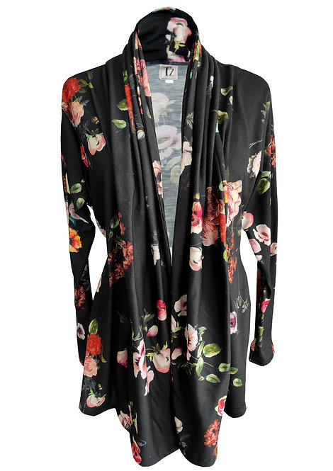 Black Floral Knit Cardigan