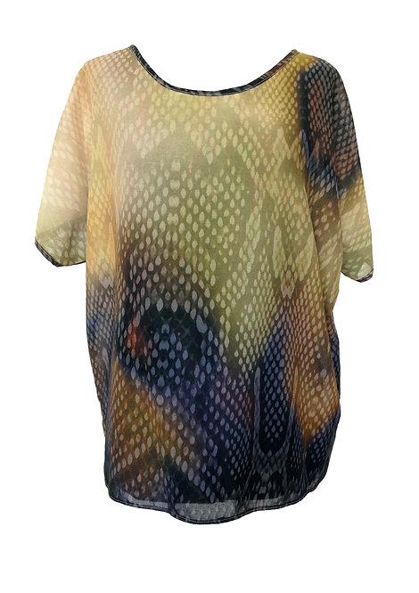 חולצת אוברסייז מודפסת נחש