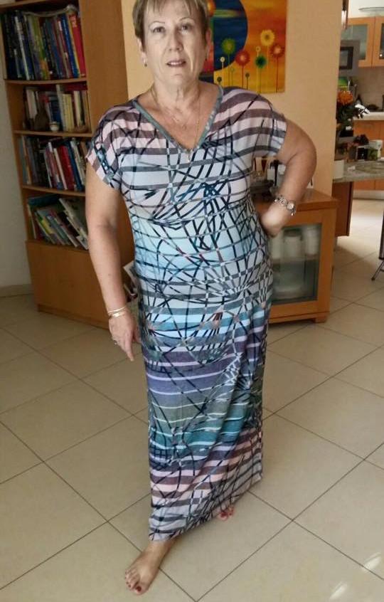 שמלת מקסי וי פסים