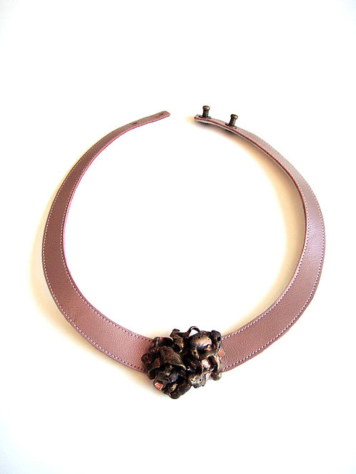 Pink Leather Necklace