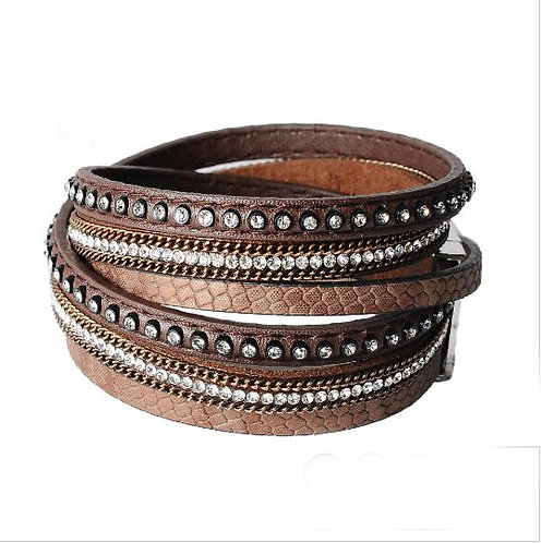 Brown Leather Straps Bracelet
