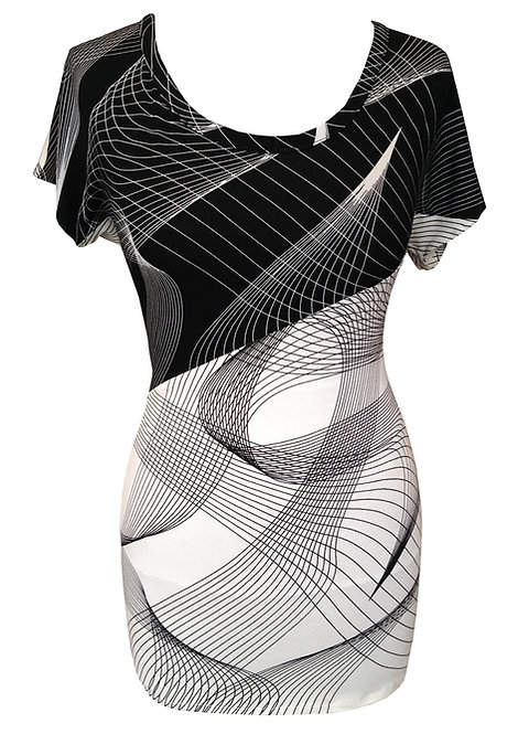 Black and White Diagonal T Shirt