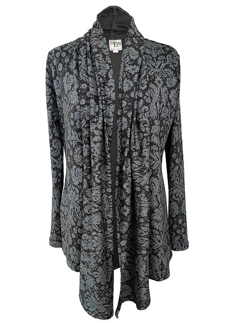 Gray Floral Jersey Cardigan