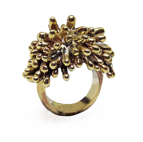 14K Gold Statement Coral Ring