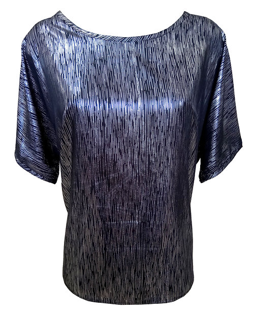 Black Oversized Shirt With Silver Stripes