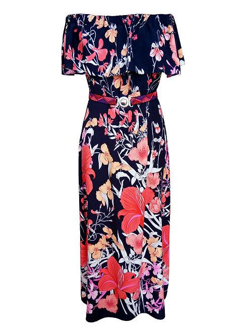 שמלת כתפיים פרחונית