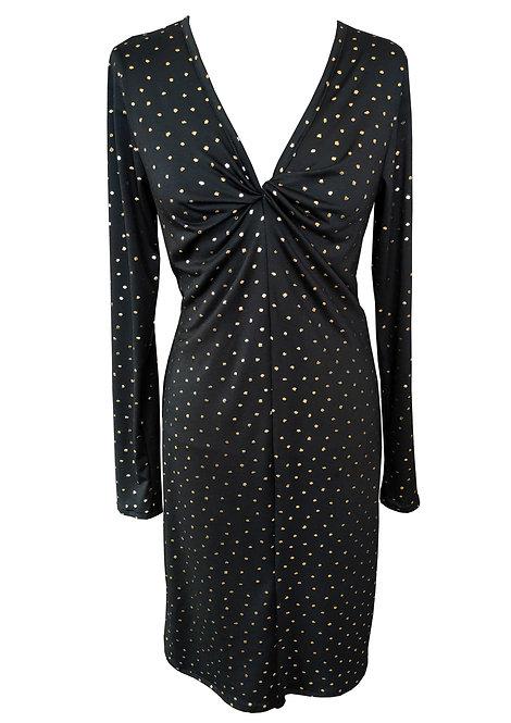 Black Twist Dress With Gold Dots