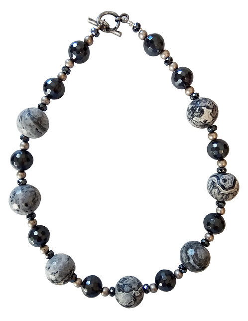 Gray Jasper & Hematite Stones Necklace