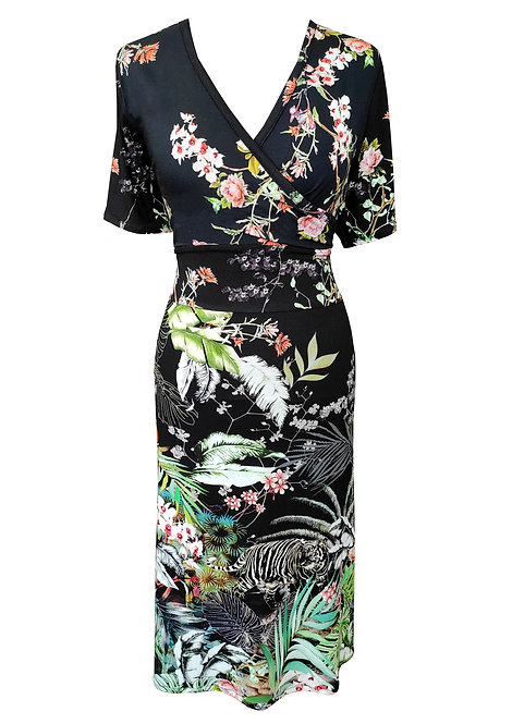 שמלה פרחונית שחורה עם חגורה מובנת
