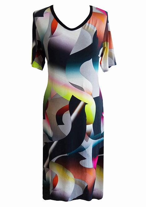 שמלה כותנה גיאומטרית