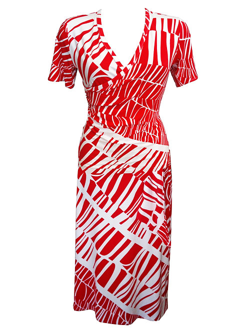 Red and White Wrap Dress