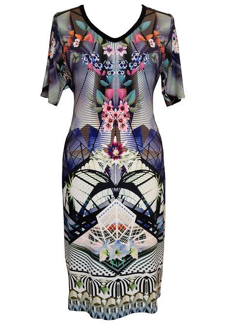 Floral Purple A-line Dress
