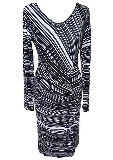 שמלה כיווצים אסימטרית שחור לבן