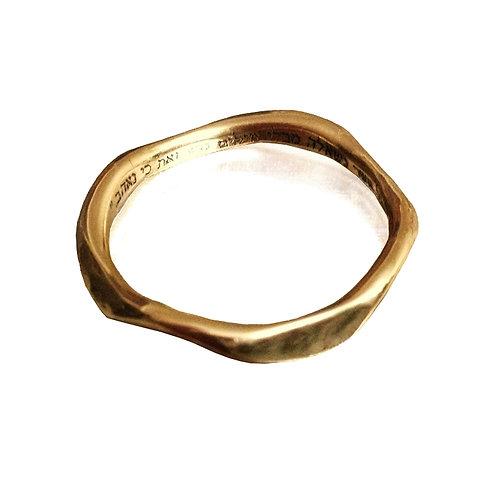 טבעת נישואין מתומנת זהב 14 קראט