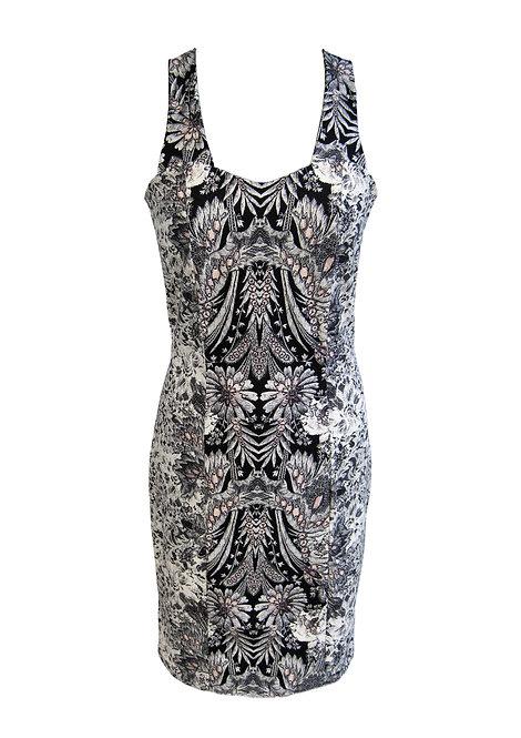 שמלה צמודה כותנה מודפסת