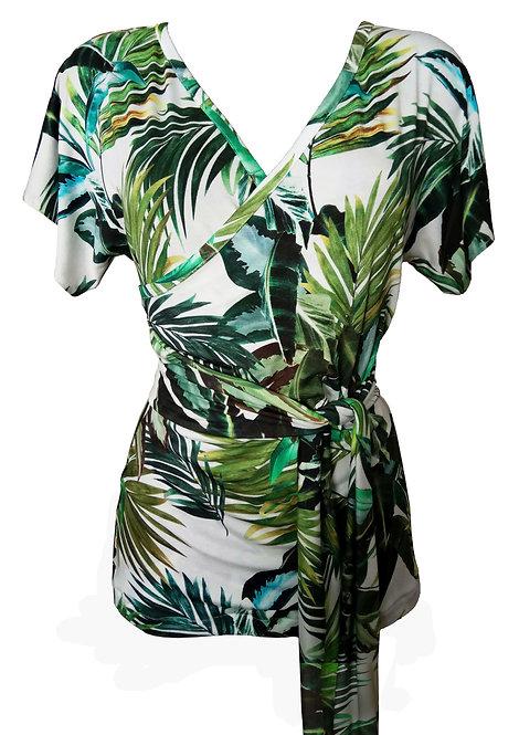 Green Leaves Kimono Shirt