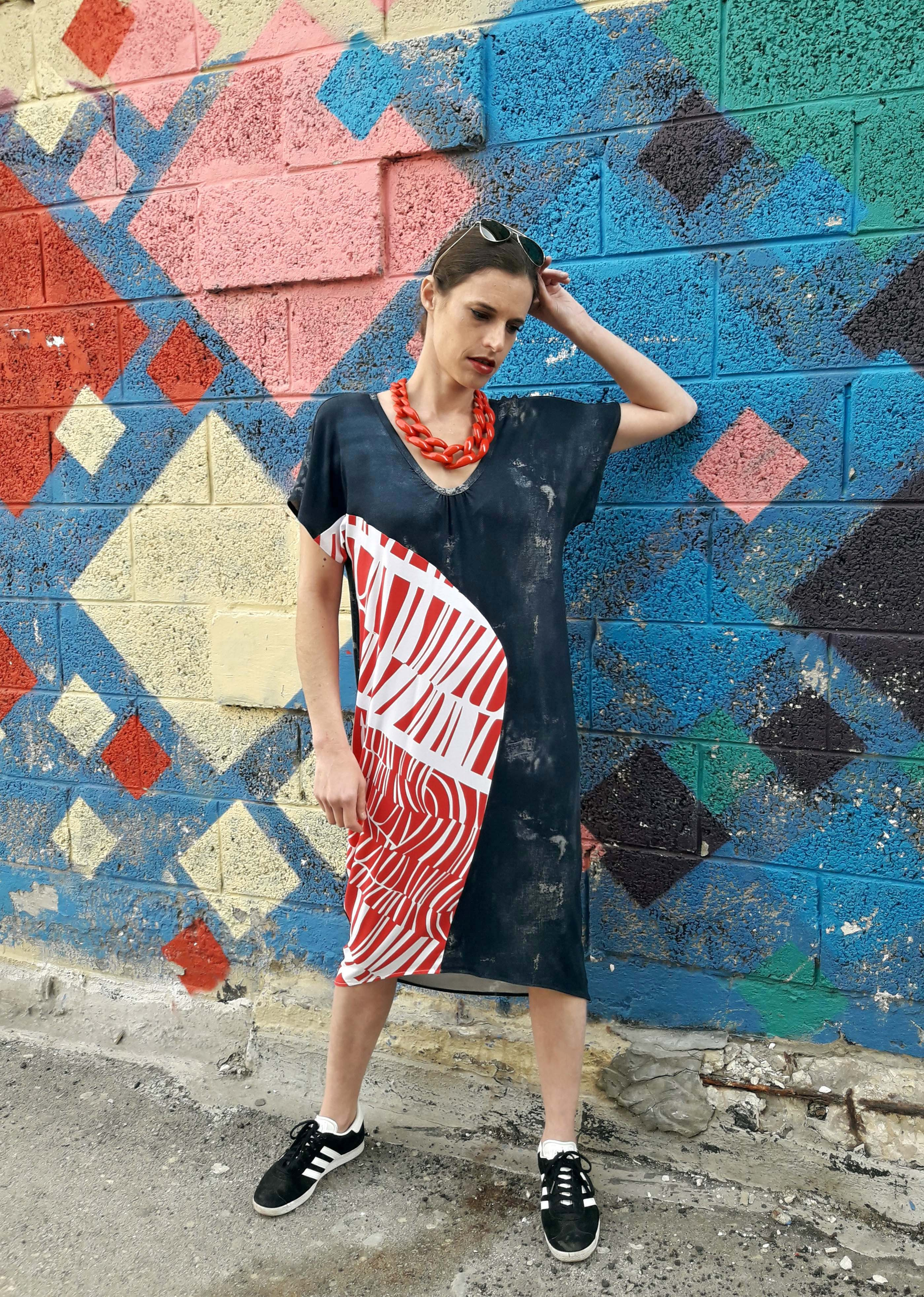 tamar ziv - asymmetric jeans dress