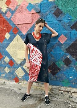 tamar ziv - asymmetric jeans dress