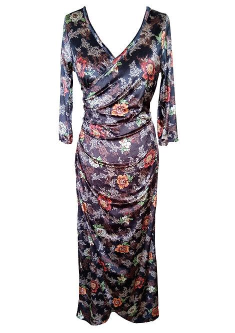 שמלת מקסי קטיפה פרחונית