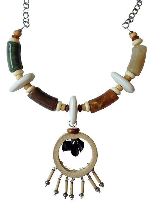 Wood Tribal Mala Necklace