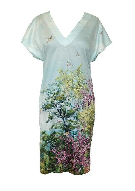 Birds V Cotton Dress