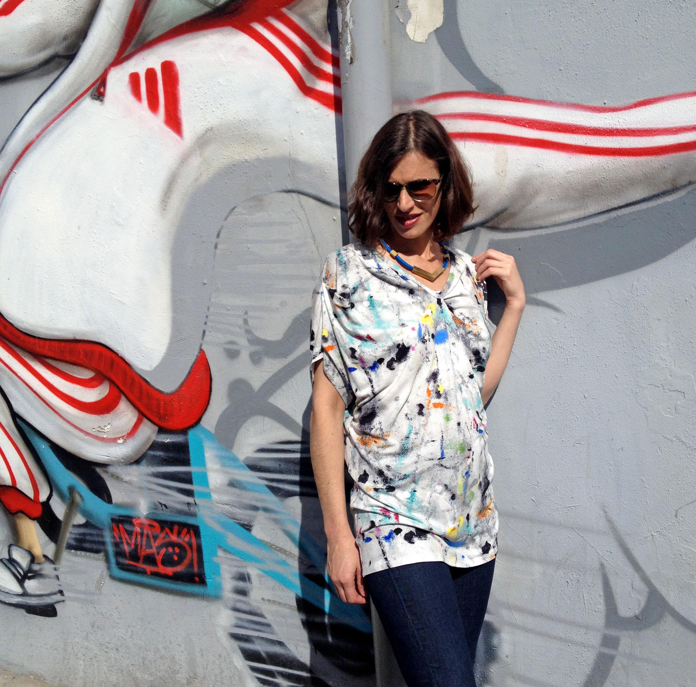 חולצת אוריגמי גרפיטי