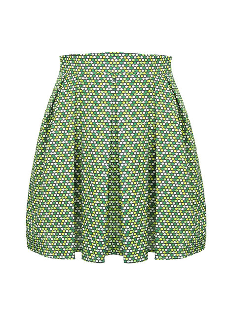 Green Dots Pleated Skirt