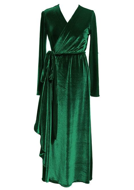 שמלת קטיפה ירוקה מעטפה מקסי