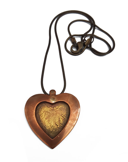 Metalic Heart Necklace - Mix Metals