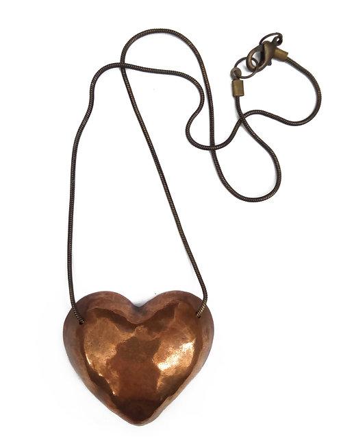 Metallic Heart Necklace - Big Heart
