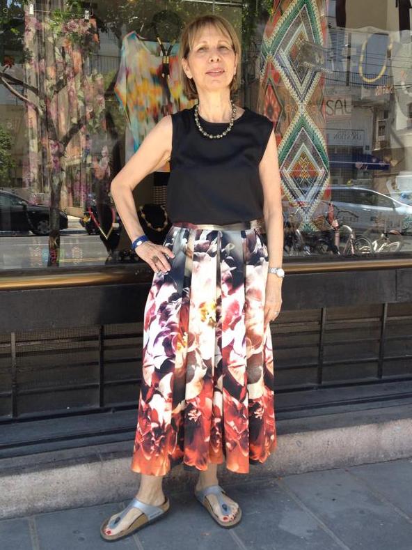 חצאית מקסי סאטן פרחונית