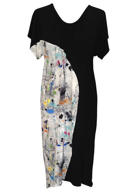 שמלה אסימטרית שחורה גרפיטי
