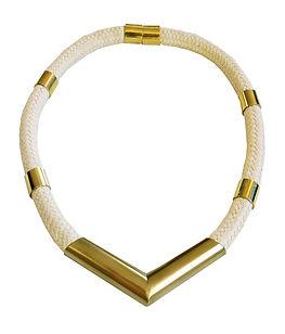 שרשרת חבל לבנה עבה סימטרית עגולה - דורון
