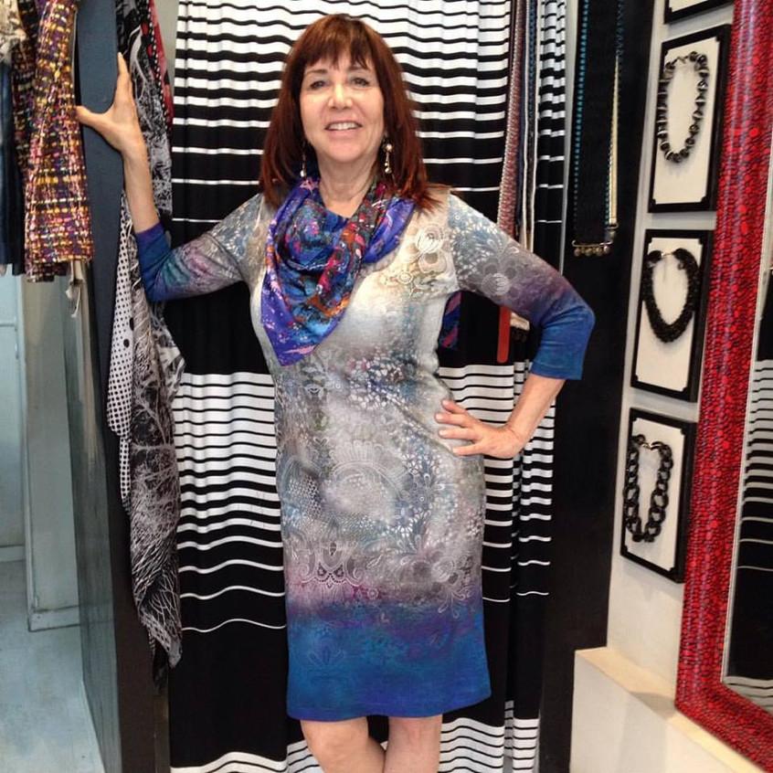שמלת בילי כחול - אפור