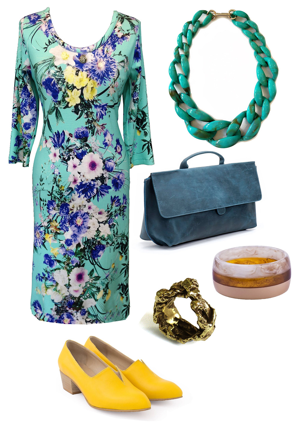 שמלת חורפית פרחונית מנטה