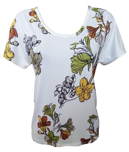 חולצה פרחונית לבנה