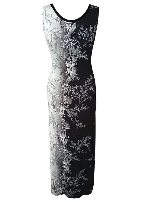 שמלת מקסי פרחונית שחור לבן