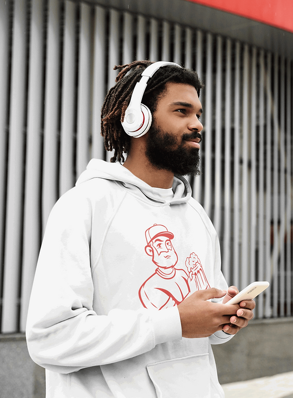 Man  wearing Dynasty Drunks Hoodie and listening to a podcast.