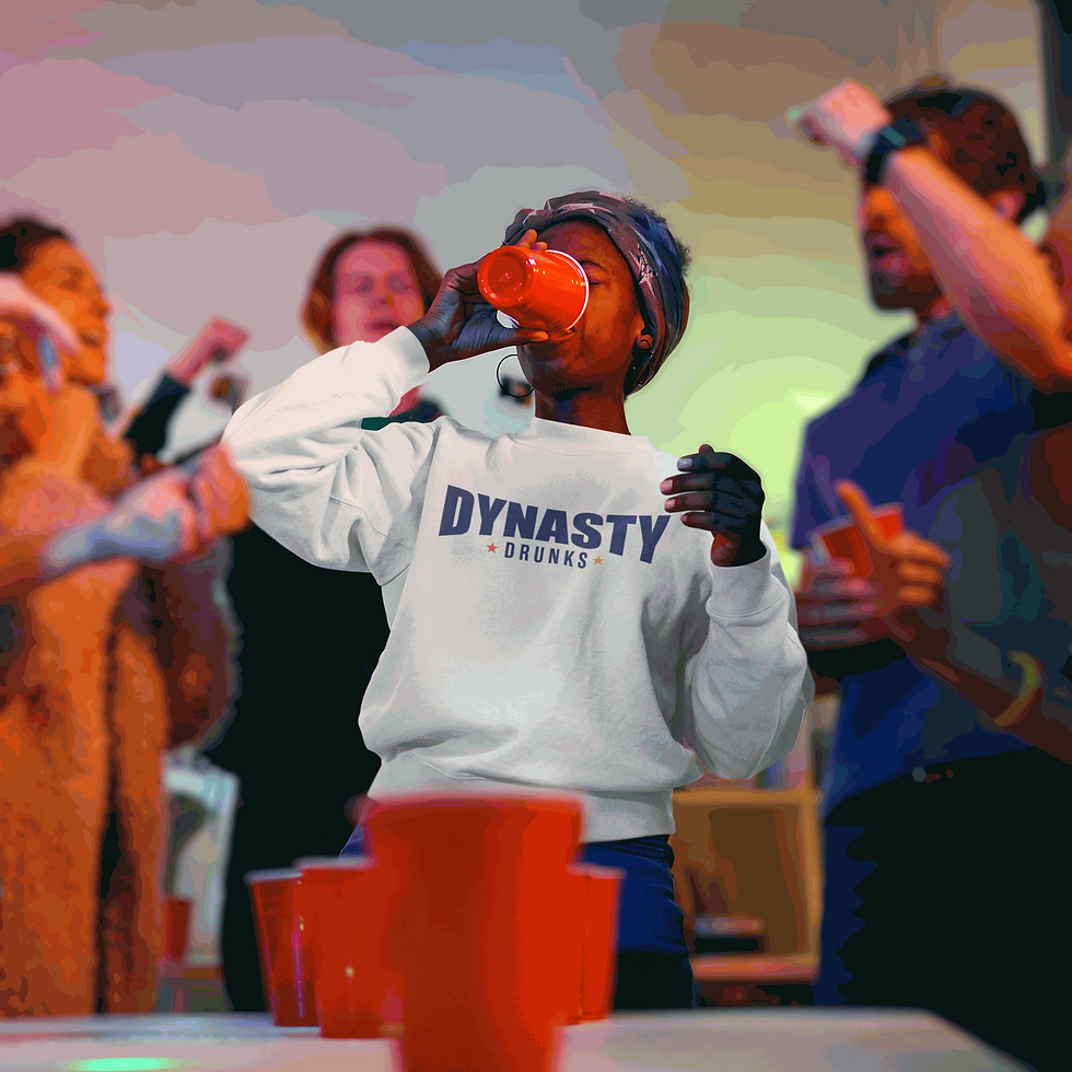 Women in Dynasty Drunks Sweater Playing Beer Pong