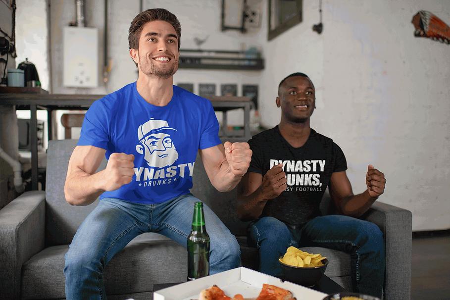 Men Cheering in Dynasty Drunks Shirts
