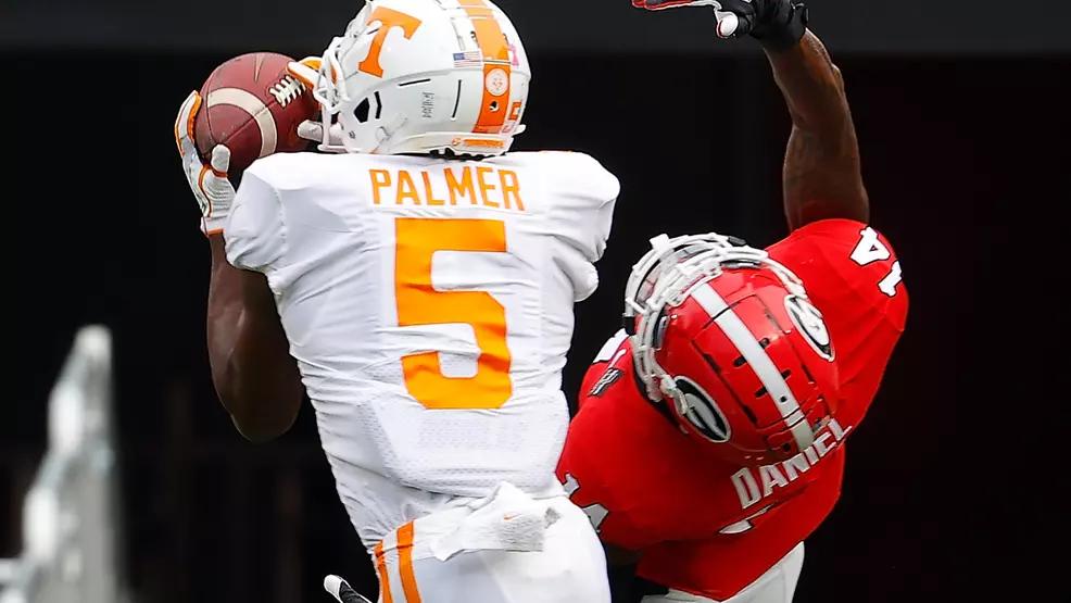 Josh Palmer catching a pass versus Georgia.