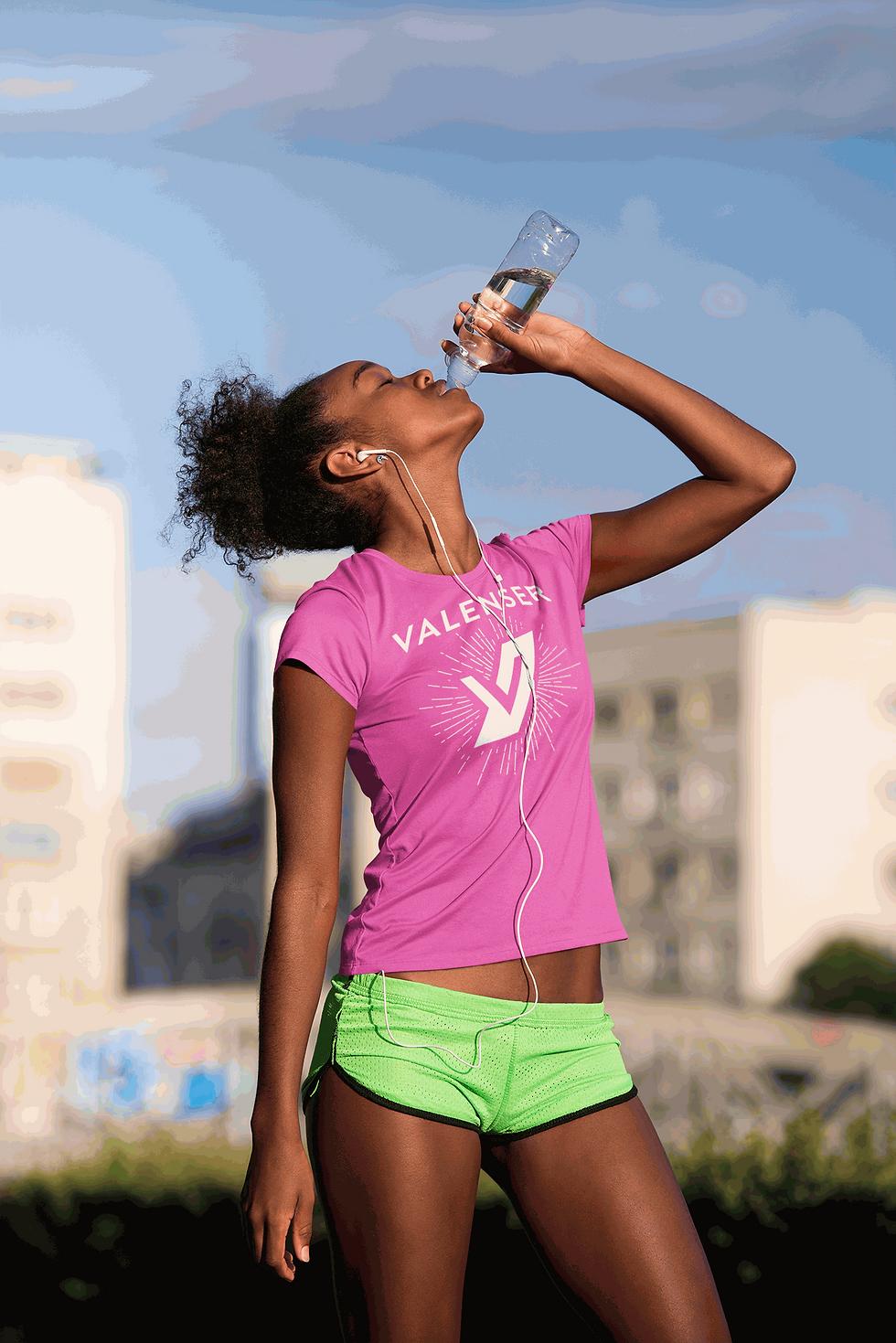 women drinking water in valenser bust shrt