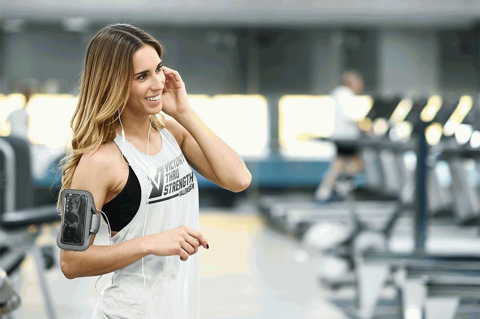 women at gym in valenser racerback tank top