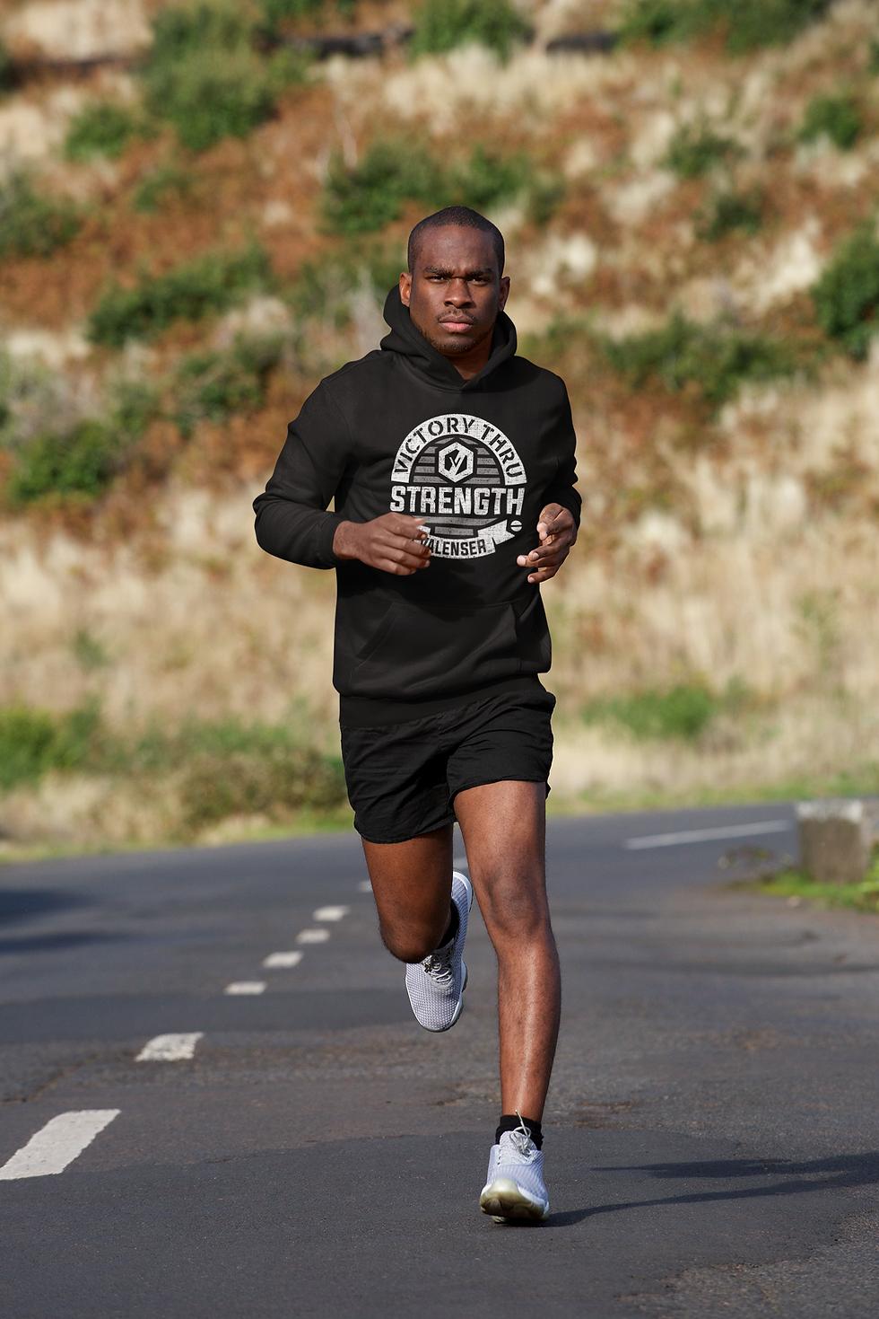 man running in valenser hoodie