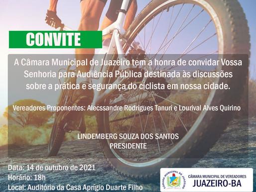 Câmara de Juazeiro vai debater sobre segurança dos ciclistas nesta quinta-feira (14)
