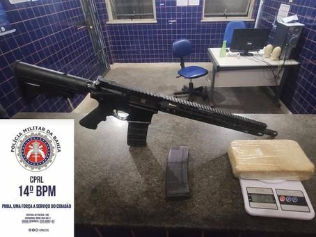 Fuzil, munição e droga localizados no Recôncavo Baiano
