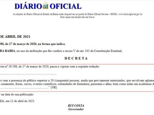 Governo da Bahia libera eventos com público de até 50 pessoas