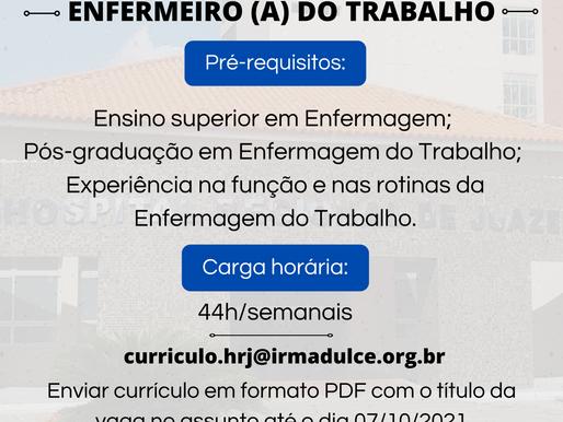 Hospital Regional de Juazeiro abre processo seletivo para a vaga de enfermeiro do trabalho