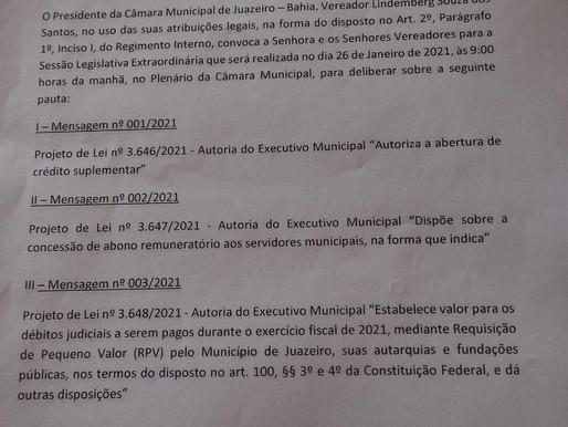 Câmara de Vereadores de Juazeiro convoca Sessão Extraordinária para terça-feira (26)
